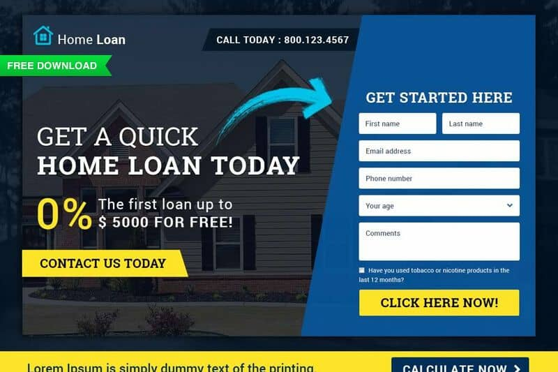 free download finance home loan landing page template psd html