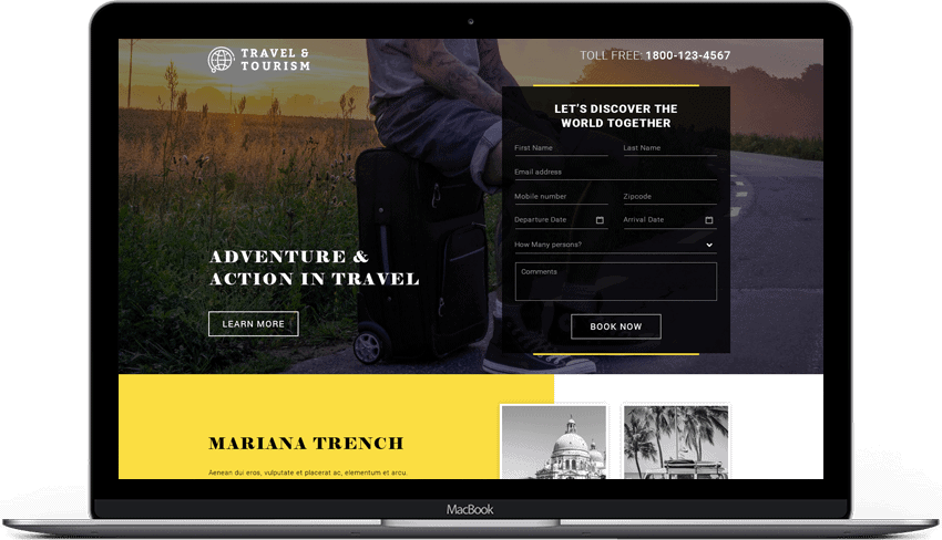Travel Lead Generation Responsive Landing Page