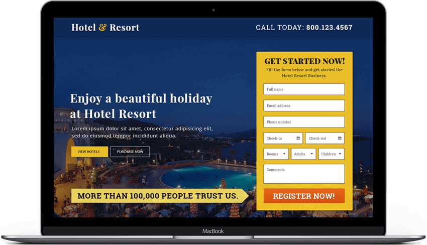 Beautiful Hotel Resort Landing Page Template