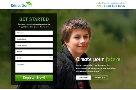 Best Education Contact Form Landing Page