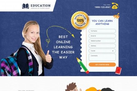 Online Kids Educational Website Landing Page