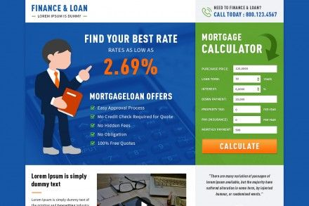 Responsive Mortgage Calculator Landing Page Theme