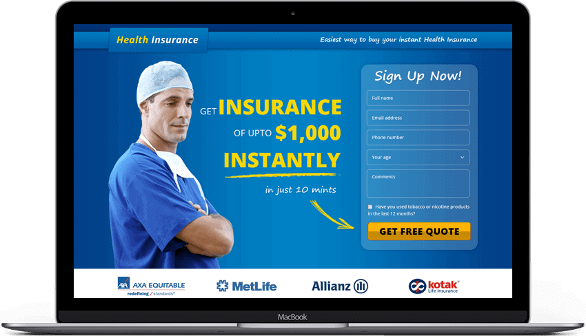 Health Insurance Lead Generation Landing Page