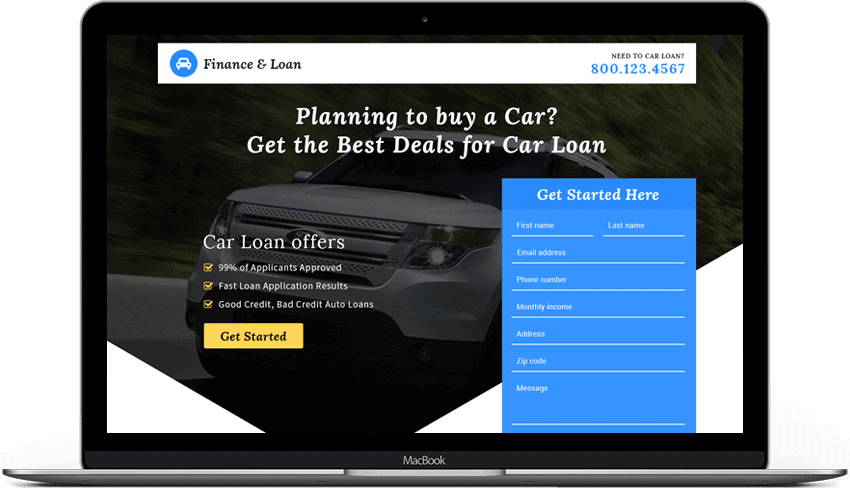 Instant Car Loan Landing Page Template