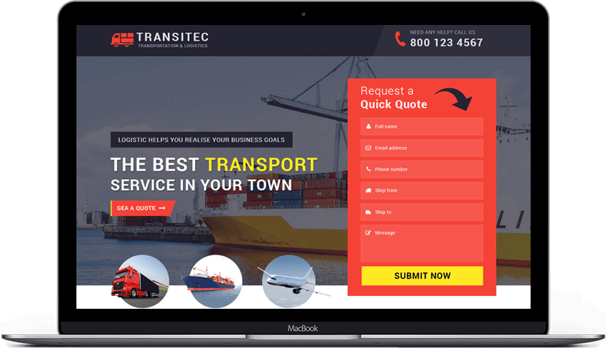 Logistic Services Landing Page Theme