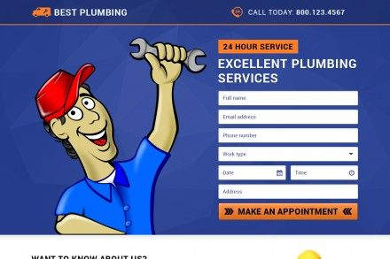 Plumbing Services Lead Generation Landing Page Designs