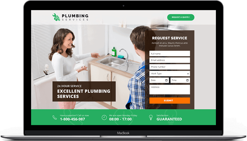 Quick Solution Plumbing Services Landing Page Template