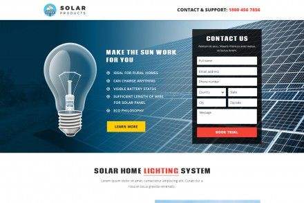 Best Solar Products Landing Page Design