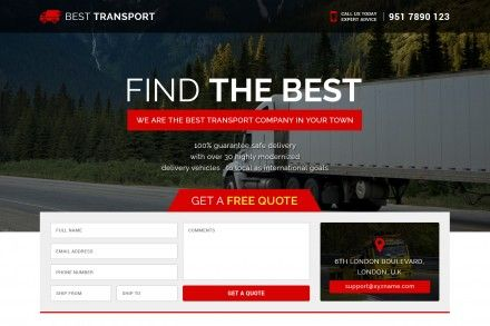 Best Transport Company Landing Page Design