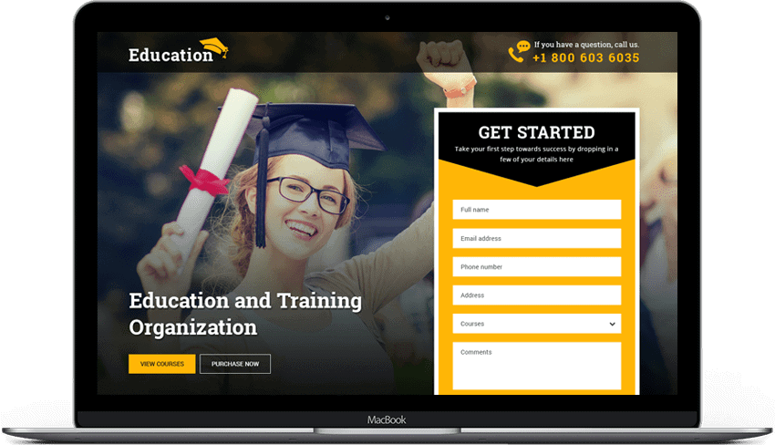Training Center Education Organization Landing Page