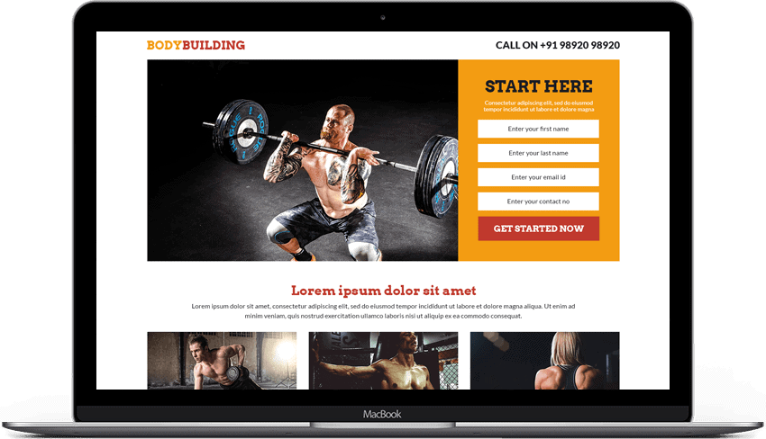 Body Building Landing Page Template
