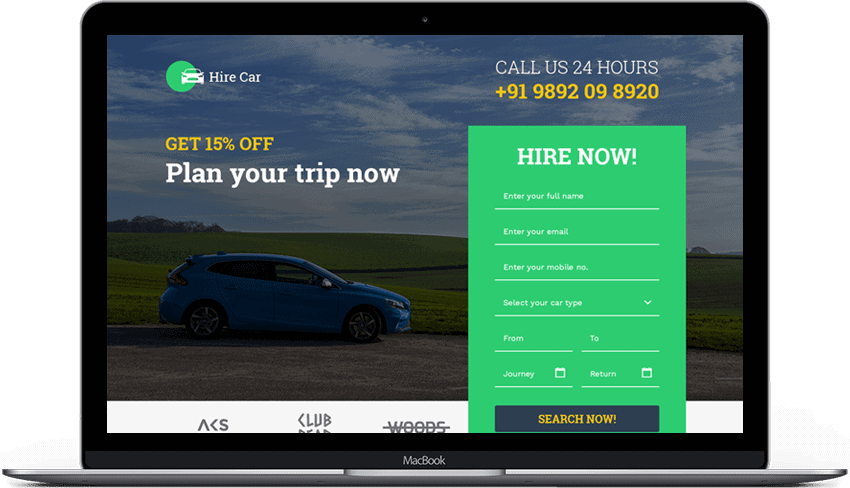 Car Booking Landing Page Design