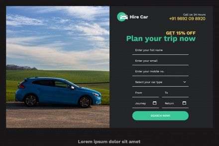 Responsive Car Hire Rental Landing Page