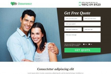 Landing Page Design For Life Insurance Website