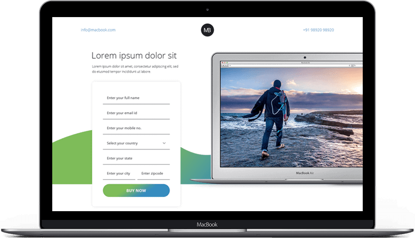 Responsive Macbook Landing Page Template
