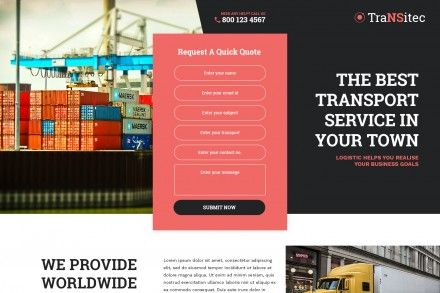 Best Transportation Services Contact Form Landing Page