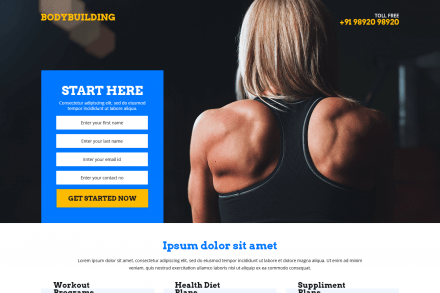 Responsive Body Building and Fitness Landing Page Theme