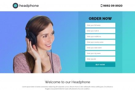 Beautiful Headphone Landing Page Theme