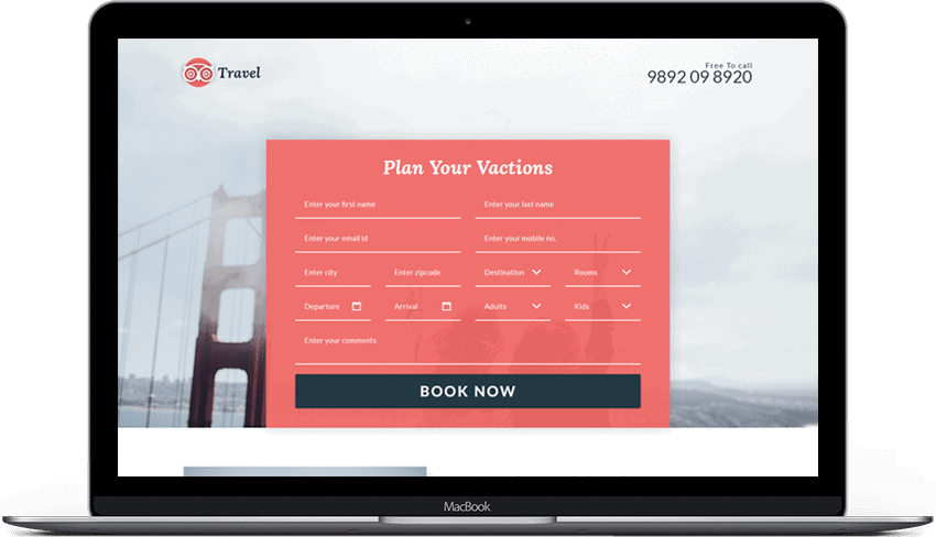 Travel Enquiry Form Landing Page Design