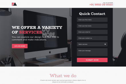 Optimized Landing Page for Web Design