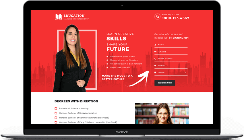 Online Educational Courses Sign Up Landing Page