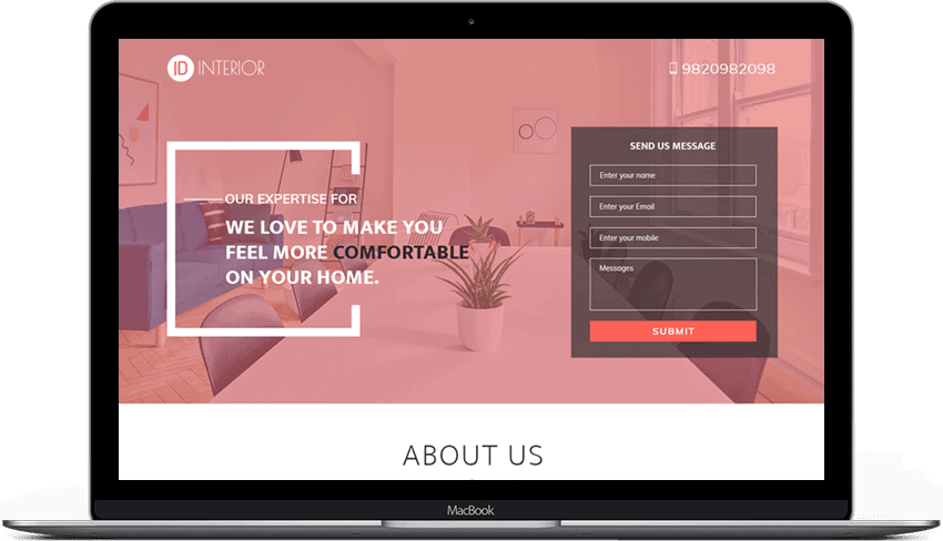 Responsive Interior Design Landing Page