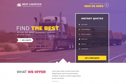 Best Transportation Logistics Landing Page Theme