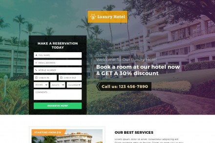 Responsive Luxury Hotel Landing Page Template