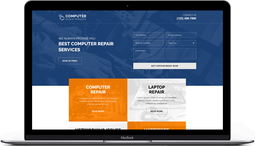 Computer Repair Responsive Landing Page Template