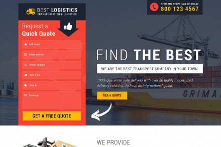Transportation Logistic Services Contact Form Landing Page
