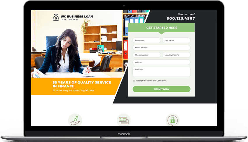 Responsive Business Loan Landing Page Template