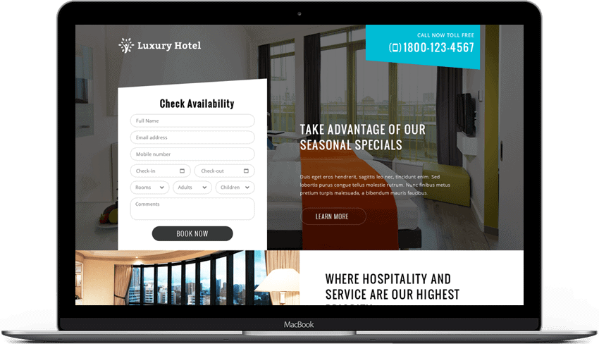 Hotel Booking Enquiry Form Landing page Template