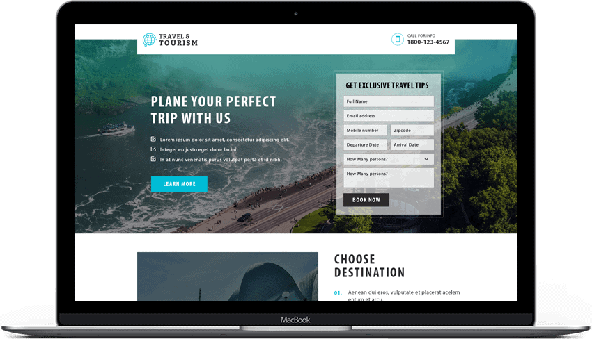 Responsive Travel Booking Landing page Template